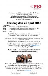 Medlemstraff Infektion Vaxjo 26 april 2018, till PIOs hemsida